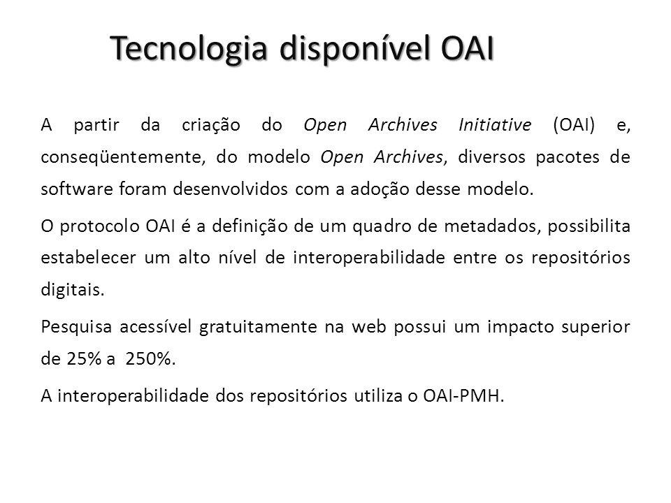 Tecnologia disponível OAI A partir da criação do Open Archives Initiative (OAI) e, conseqüentemente, do modelo Open Archives, diversos pacotes de software foram desenvolvidos com a adoção desse modelo.