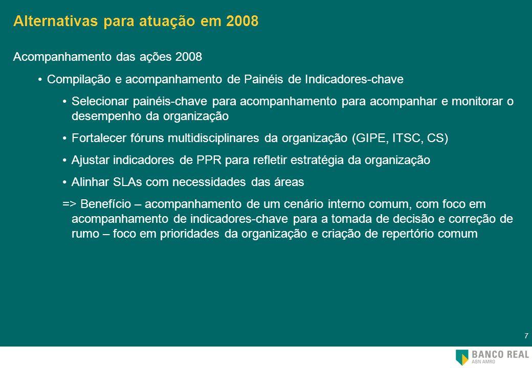 8 8 Alternativas para atuação em 2008 Criação, divulgação e utilização de ferramenta de colaboração Selecionar funções-chave para exercício da colaboração no Aprofundamento do Nosso Compromisso, para o desenvolvimento do Ciclo SPGI 2009, ou acompanhamento das ações e resultados 2008 Implementar uso de ferramenta de colaboração => Benefício – exercício da colaboração entre áreas com o suporte de ferramenta que apóie a ruptura de silos e amplie as possibilidades de integração através do aumento de interação