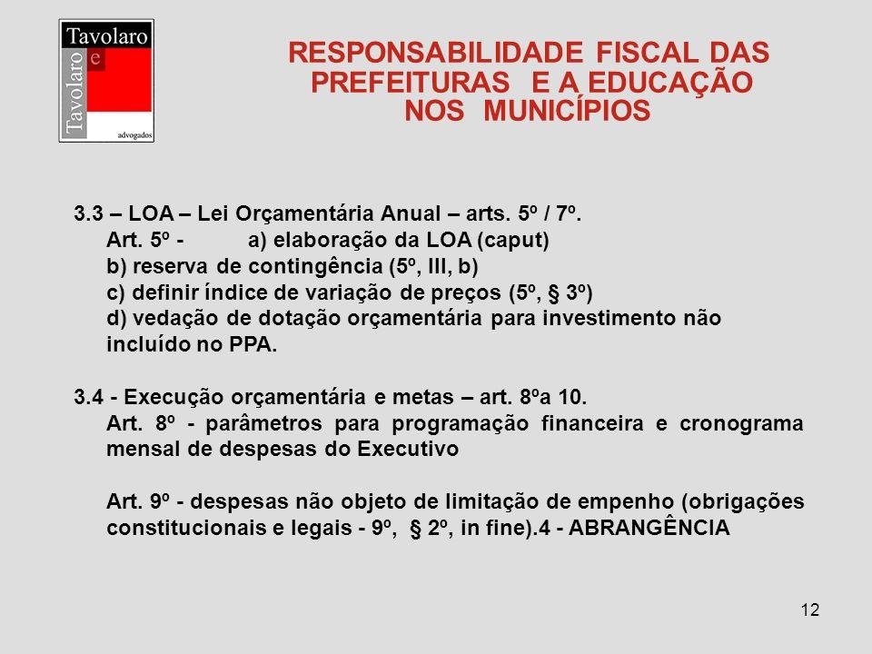 12 RESPONSABILIDADE FISCAL DAS PREFEITURAS E A EDUCAÇÃO NOS MUNICÍPIOS 3.3 – LOA – Lei Orçamentária Anual – arts. 5º / 7º. Art. 5º -a) elaboração da L