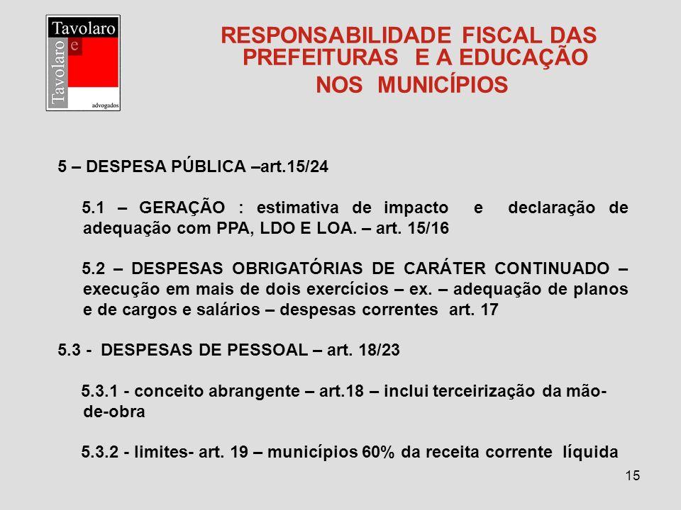 15 RESPONSABILIDADE FISCAL DAS PREFEITURAS E A EDUCAÇÃO NOS MUNICÍPIOS 5 – DESPESA PÚBLICA –art.15/24 5.1 – GERAÇÃO : estimativa de impacto e declaraç