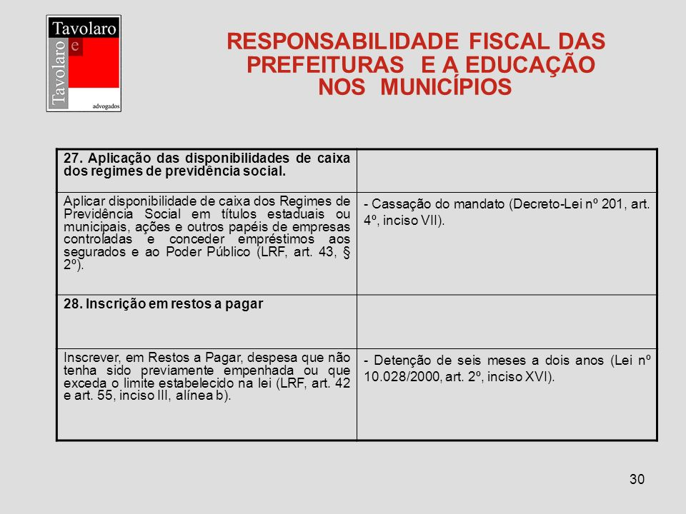 30 RESPONSABILIDADE FISCAL DAS PREFEITURAS E A EDUCAÇÃO NOS MUNICÍPIOS 27. Aplicação das disponibilidades de caixa dos regimes de previdência social.