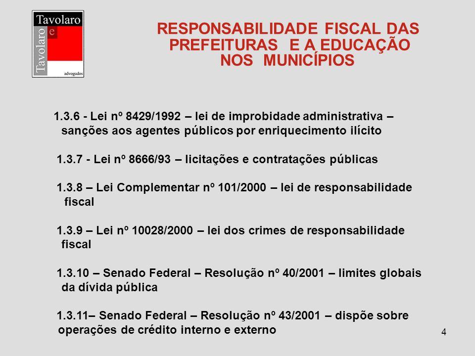 4 RESPONSABILIDADE FISCAL DAS PREFEITURAS E A EDUCAÇÃO NOS MUNICÍPIOS 1.3.6 - Lei nº 8429/1992 – lei de improbidade administrativa – sanções aos agent