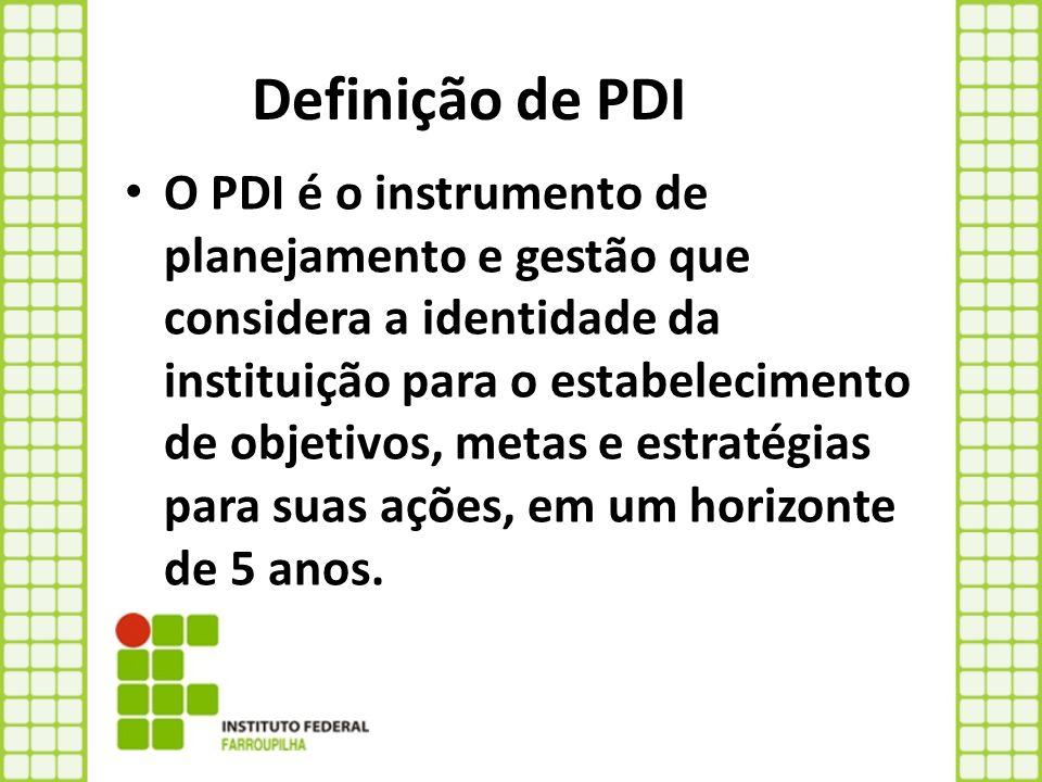 Definição de PDI O PDI é o instrumento de planejamento e gestão que considera a identidade da instituição para o estabelecimento de objetivos, metas e