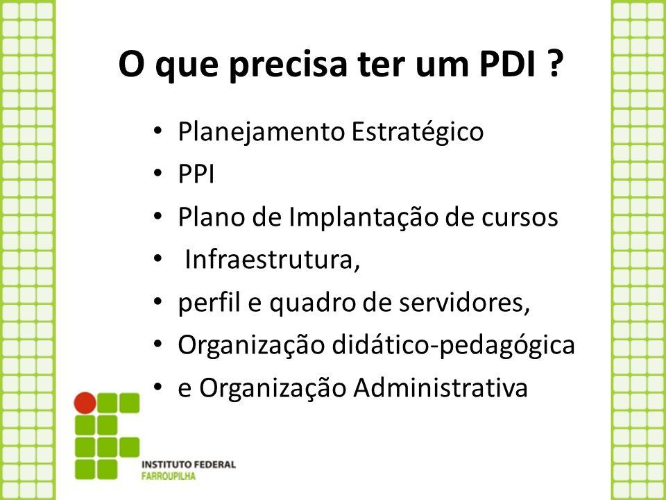O que precisa ter um PDI ? Planejamento Estratégico PPI Plano de Implantação de cursos Infraestrutura, perfil e quadro de servidores, Organização didá