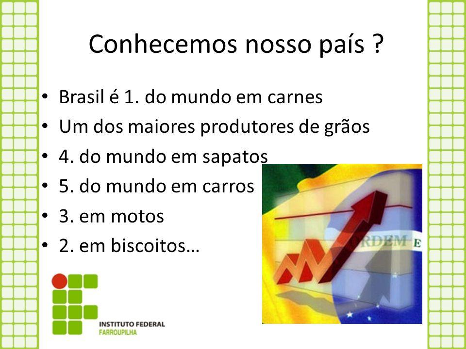Conhecemos nosso país ? Brasil é 1. do mundo em carnes Um dos maiores produtores de grãos 4. do mundo em sapatos 5. do mundo em carros 3. em motos 2.
