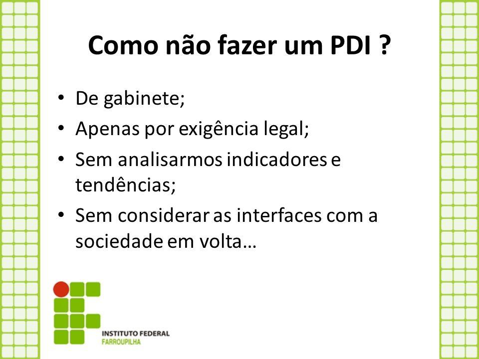 Como não fazer um PDI ? De gabinete; Apenas por exigência legal; Sem analisarmos indicadores e tendências; Sem considerar as interfaces com a sociedad