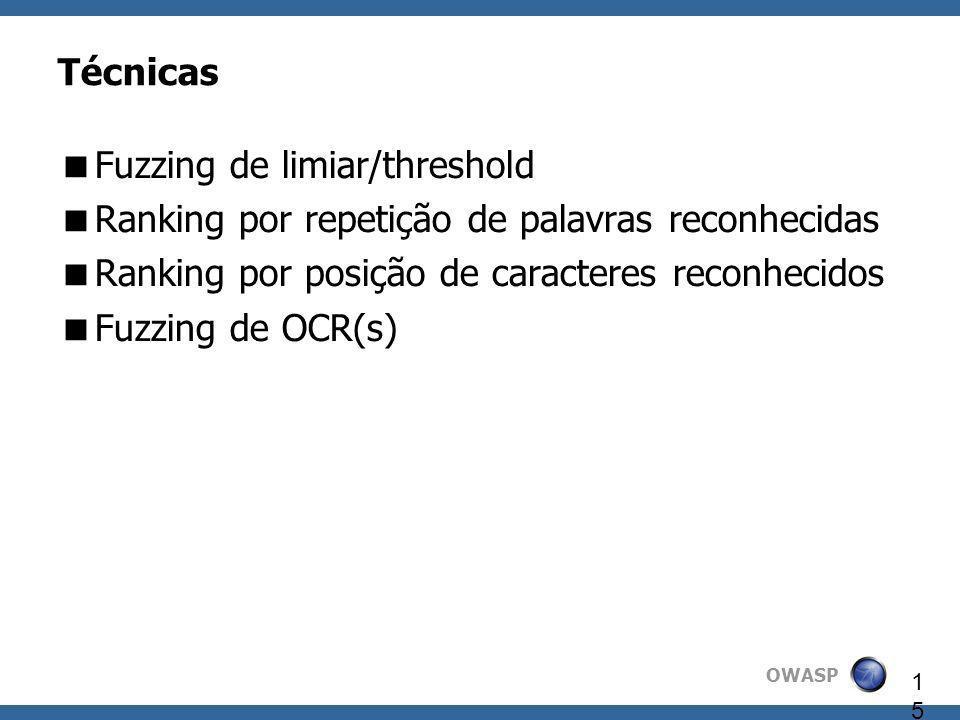 OWASP 15 Técnicas Fuzzing de limiar/threshold Ranking por repetição de palavras reconhecidas Ranking por posição de caracteres reconhecidos Fuzzing de