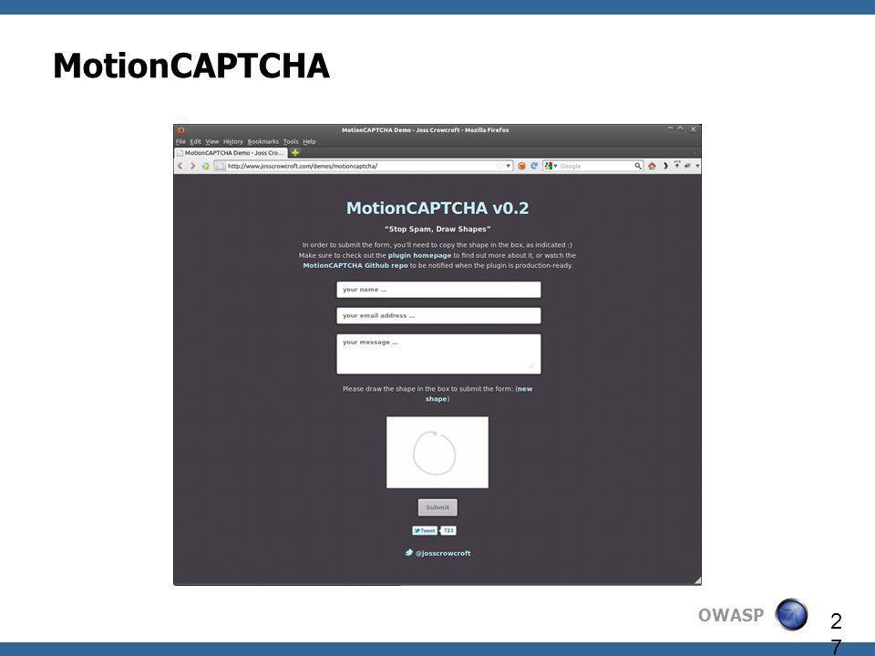 OWASP 27 MotionCAPTCHA