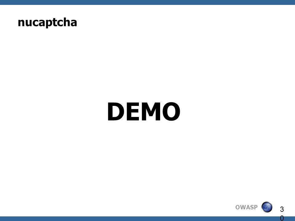 OWASP 30 nucaptcha DEMO