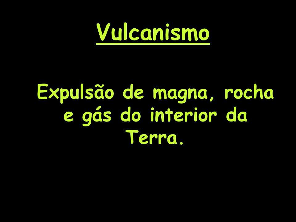 Vulcanismo Expulsão de magna, rocha e gás do interior da Terra.