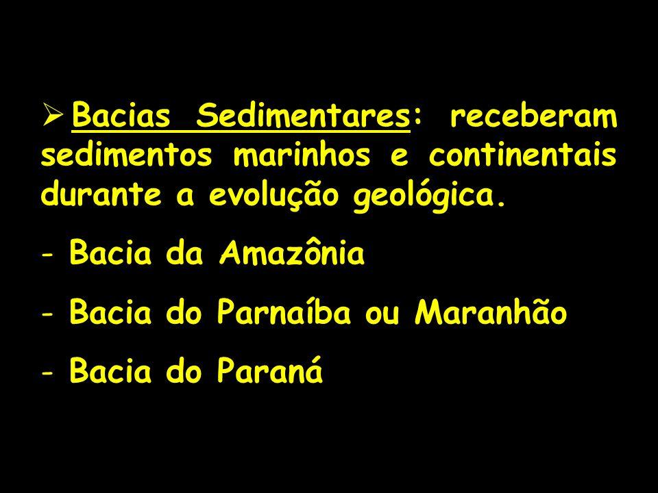 Bacias Sedimentares: receberam sedimentos marinhos e continentais durante a evolução geológica. - Bacia da Amazônia - Bacia do Parnaíba ou Maranhão -