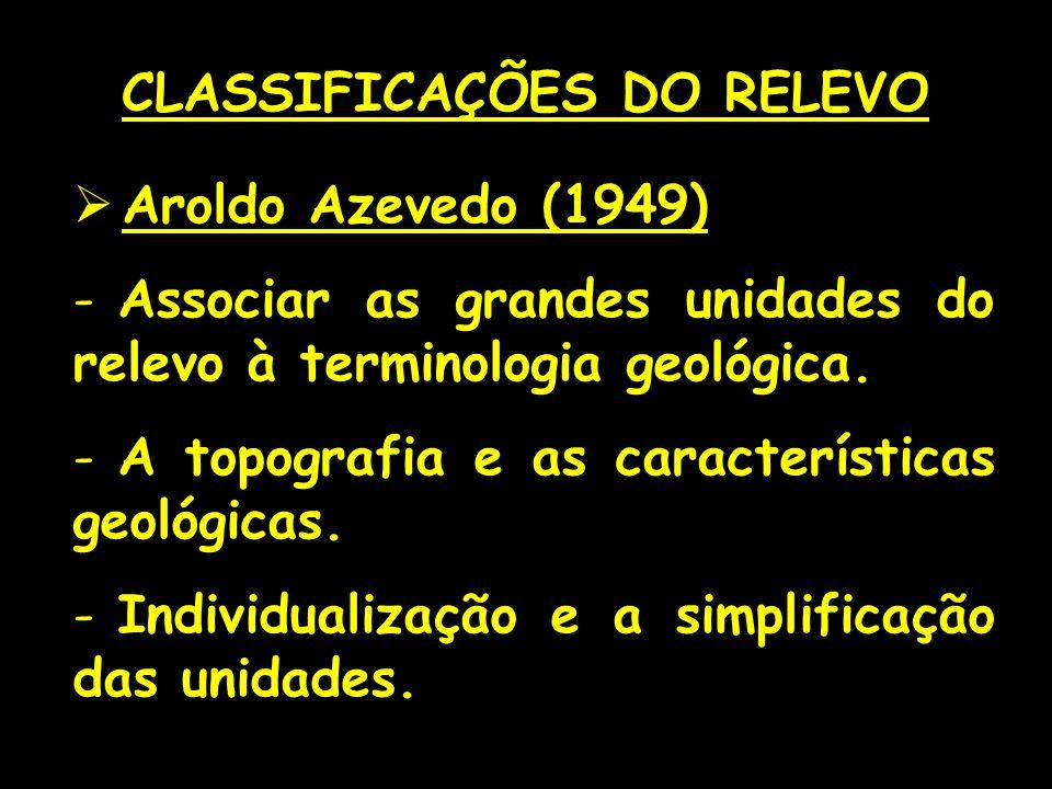 Aroldo Azevedo (1949) - Associar as grandes unidades do relevo à terminologia geológica. - A topografia e as características geológicas. - Individuali