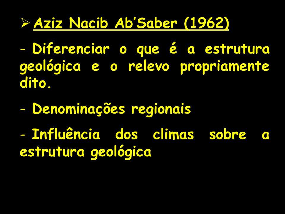 Aziz Nacib AbSaber (1962) - Diferenciar o que é a estrutura geológica e o relevo propriamente dito. - Denominações regionais - Influência dos climas s