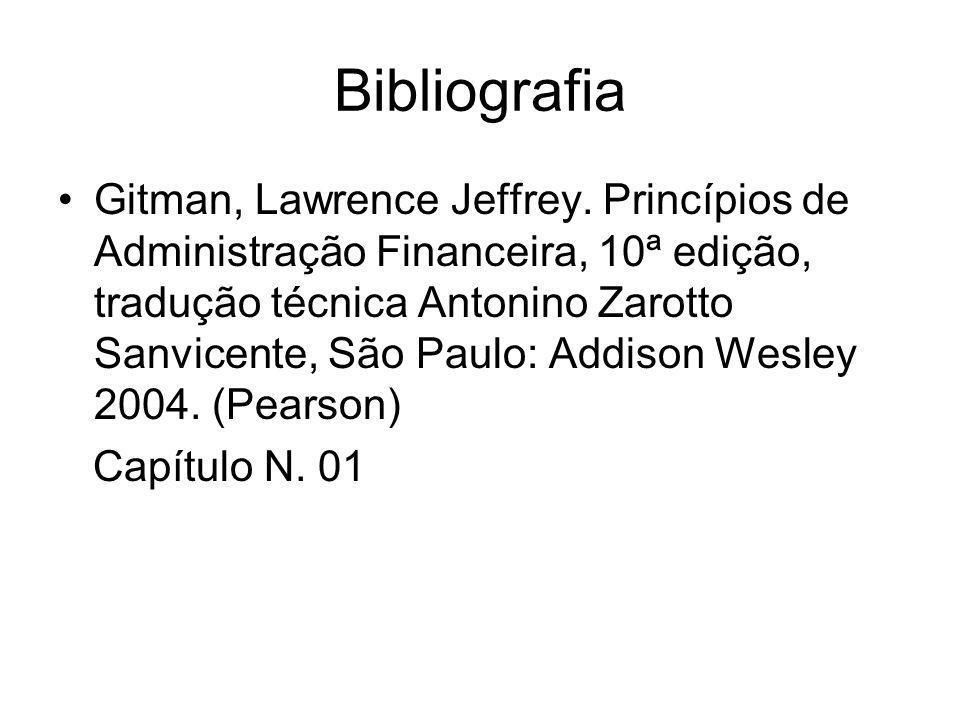 Bibliografia Gitman, Lawrence Jeffrey. Princípios de Administração Financeira, 10ª edição, tradução técnica Antonino Zarotto Sanvicente, São Paulo: Ad