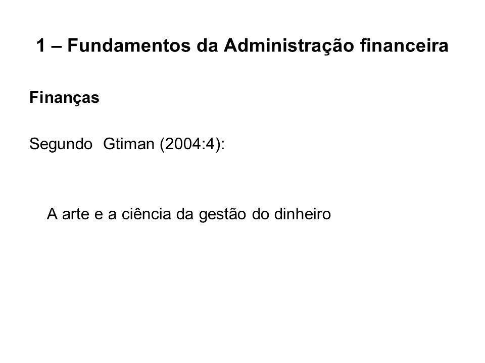 1.1 – O Papel do Administrador Financeiro Principais Oportunidades em Finanças: Serviços Financeiros e Administração Financeira Oportunidades de Carreira em Administração Financeira: Analista financeiro, Gerente de investimento, Gerente de financiamento, Gerente de caixa, Analista/Gerente de crédito, Gerente de fundo de pensão e Gerente de operações de câmbio.