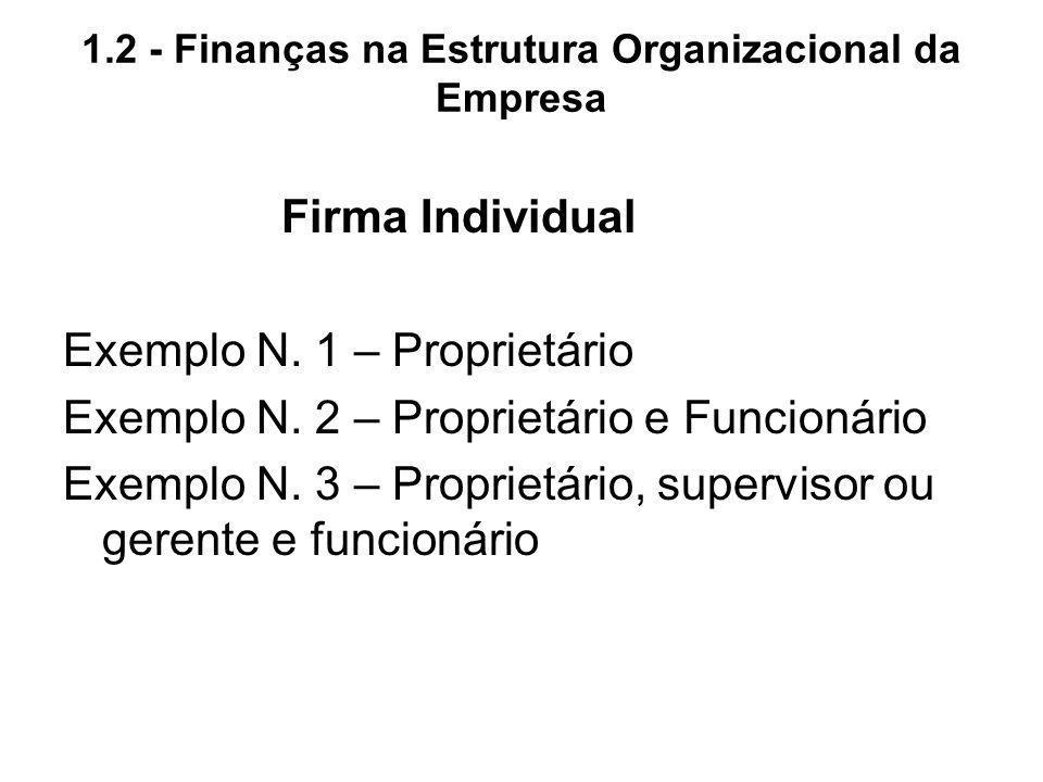 1.2 - Finanças na Estrutura Organizacional da Empresa Firma Individual Exemplo N. 1 – Proprietário Exemplo N. 2 – Proprietário e Funcionário Exemplo N