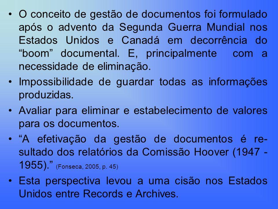 O conceito de gestão de documentos foi formulado após o advento da Segunda Guerra Mundial nos Estados Unidos e Canadá em decorrência do boom documenta