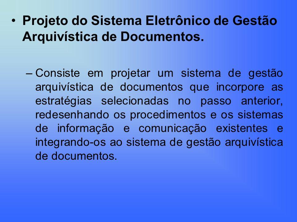 Projeto do Sistema Eletrônico de Gestão Arquivística de Documentos. –Consiste em projetar um sistema de gestão arquivística de documentos que incorpor