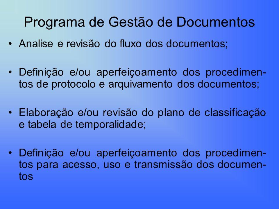 Programa de Gestão de Documentos Analise e revisão do fluxo dos documentos; Definição e/ou aperfeiçoamento dos procedimen- tos de protocolo e arquivam