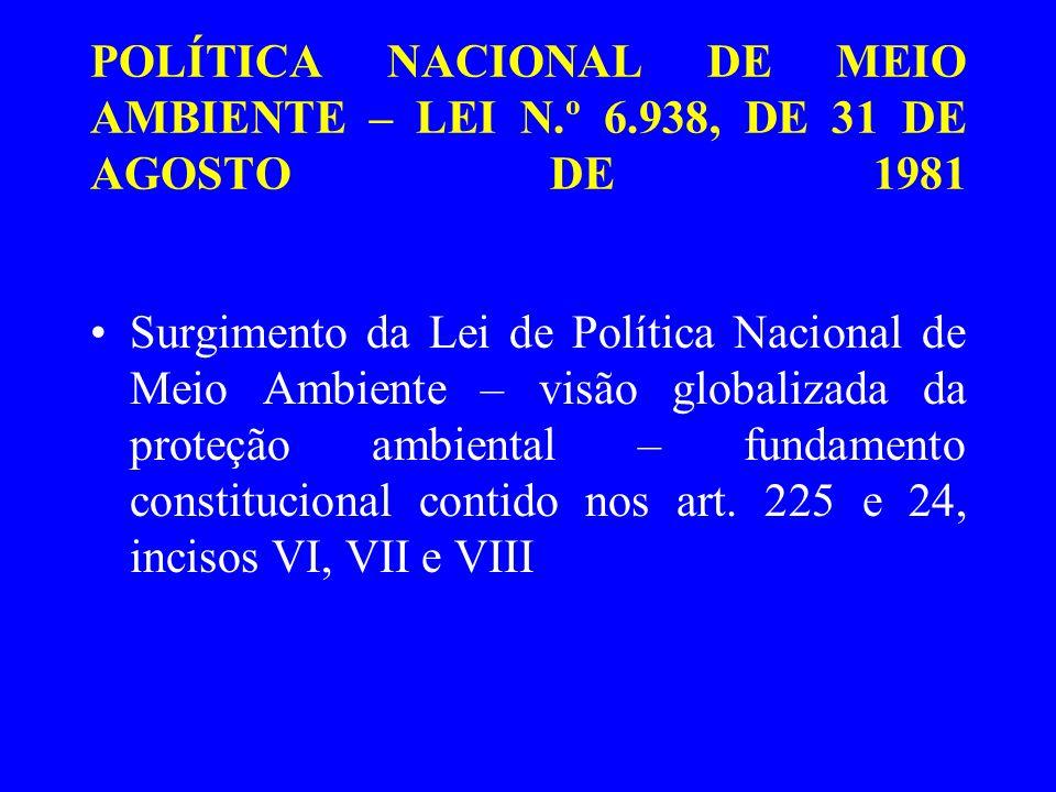 POLÍTICA NACIONAL DE MEIO AMBIENTE – LEI N.º 6.938/81 A Política Nacional de Meio Ambiente é compreendida como o conjunto de instrumentos legais, técnicos, científicos, políticos e econômicos destinados à promoção do desenvolvimento sustentado da sociedade e da economia brasileira.
