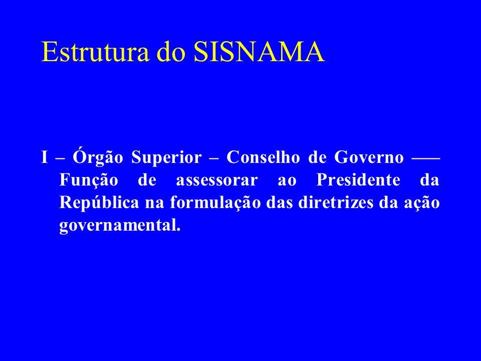 Estrutura do SISNAMA I – Órgão Superior – Conselho de Governo ––– Função de assessorar ao Presidente da República na formulação das diretrizes da ação
