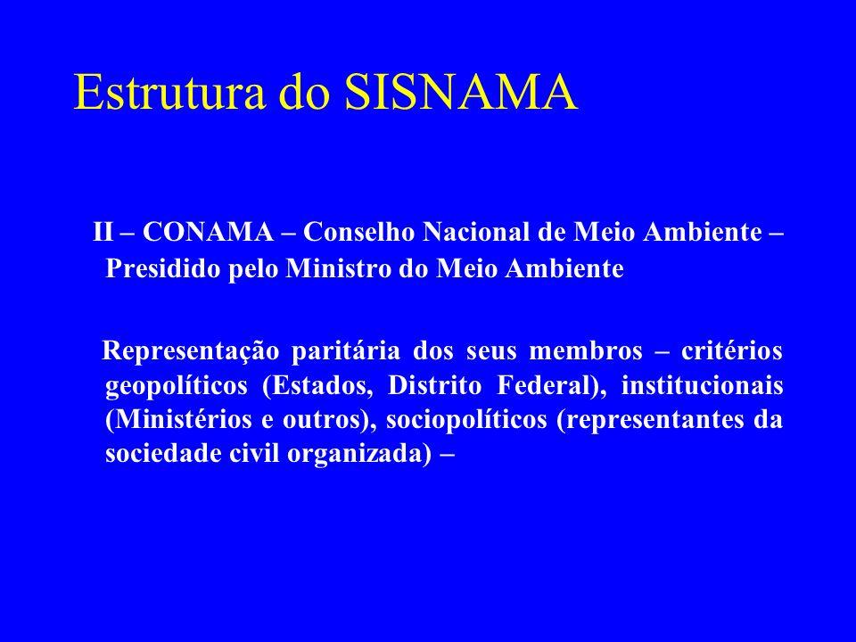 Estrutura do SISNAMA II – CONAMA – Conselho Nacional de Meio Ambiente – Presidido pelo Ministro do Meio Ambiente Representação paritária dos seus memb
