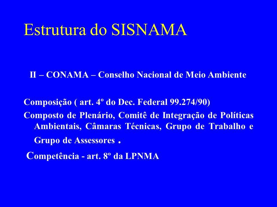 Estrutura do SISNAMA II – CONAMA – Conselho Nacional de Meio Ambiente Composição ( art. 4º do Dec. Federal 99.274/90) Composto de Plenário, Comitê de