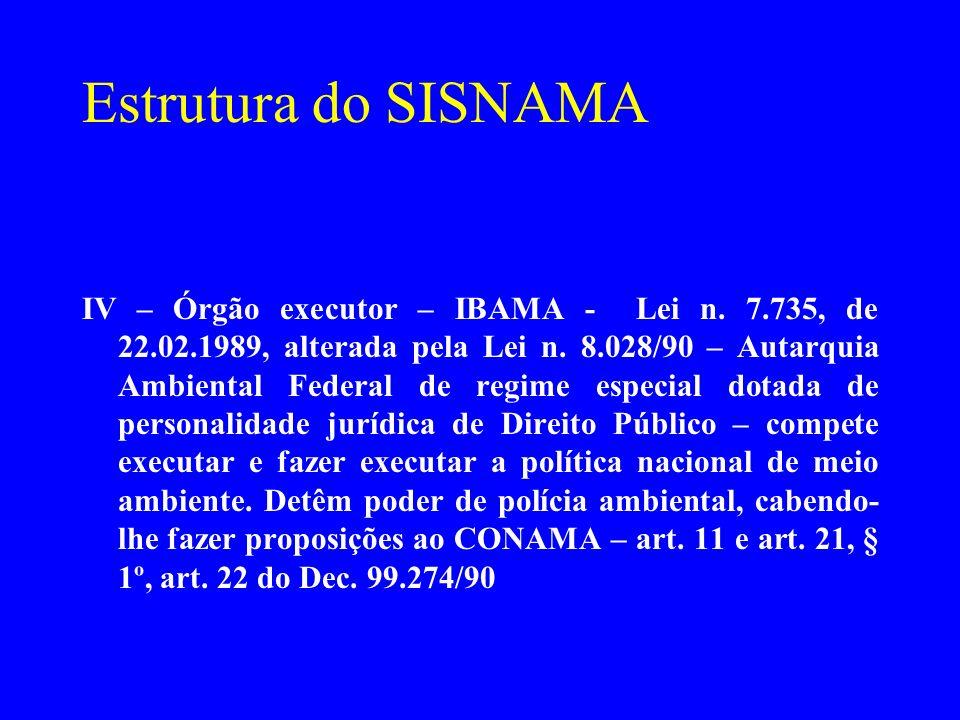 Estrutura do SISNAMA IV – Órgão executor – IBAMA - Lei n. 7.735, de 22.02.1989, alterada pela Lei n. 8.028/90 – Autarquia Ambiental Federal de regime