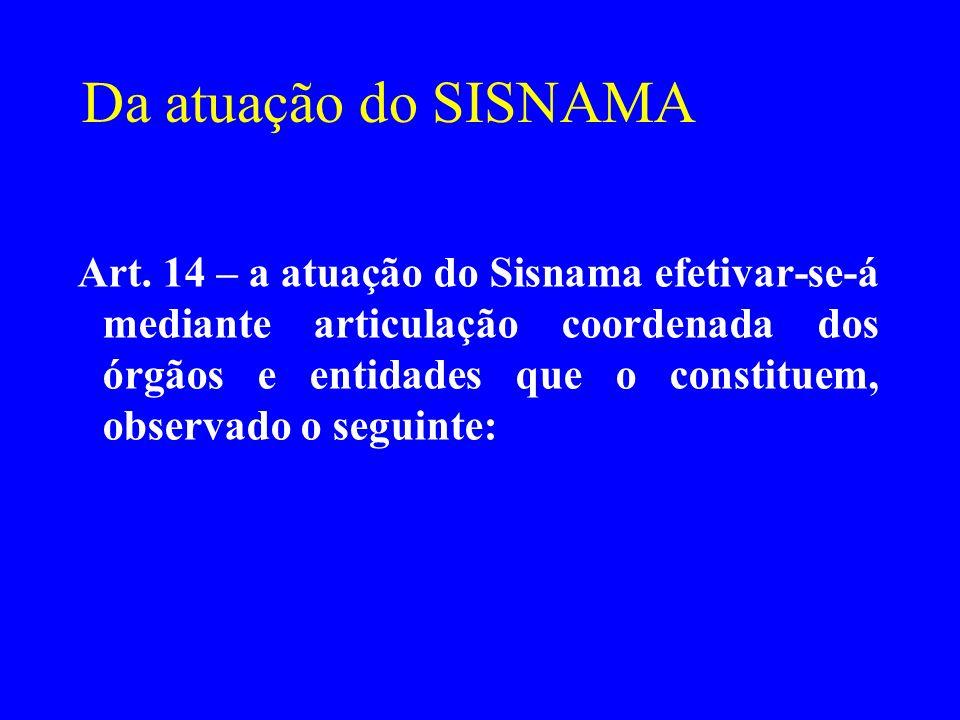 Da atuação do SISNAMA Art. 14 – a atuação do Sisnama efetivar-se-á mediante articulação coordenada dos órgãos e entidades que o constituem, observado