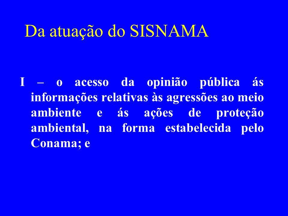Da atuação do SISNAMA I – o acesso da opinião pública ás informações relativas às agressões ao meio ambiente e ás ações de proteção ambiental, na form