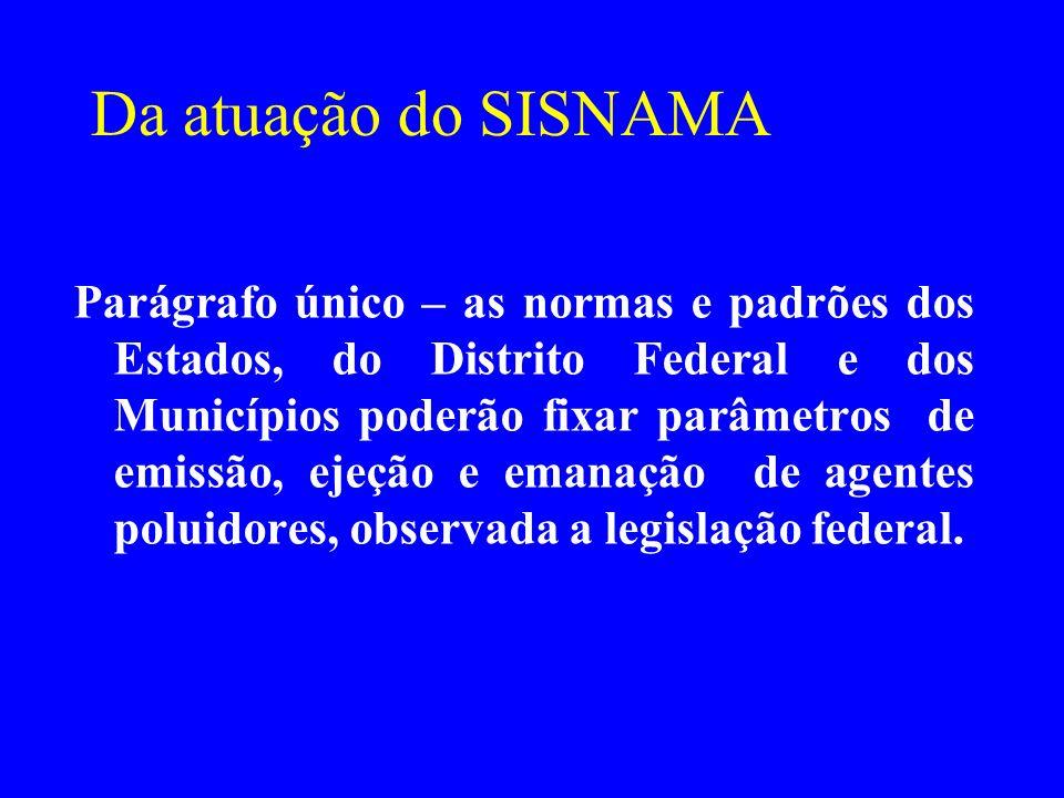 Da atuação do SISNAMA Parágrafo único – as normas e padrões dos Estados, do Distrito Federal e dos Municípios poderão fixar parâmetros de emissão, eje
