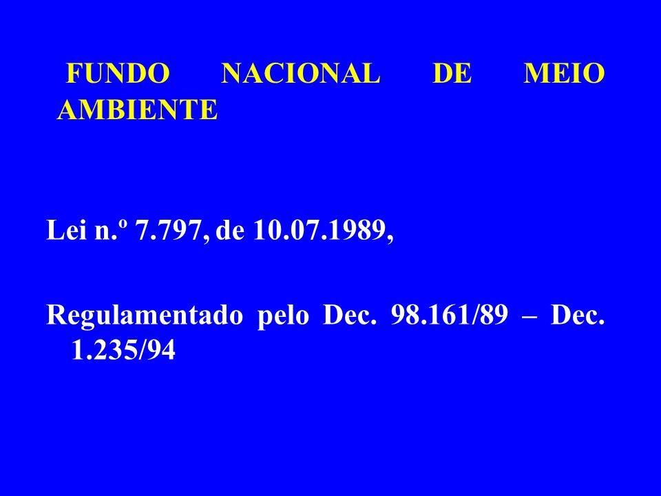 FUNDO NACIONAL DE MEIO AMBIENTE Lei n.º 7.797, de 10.07.1989, Regulamentado pelo Dec. 98.161/89 – Dec. 1.235/94
