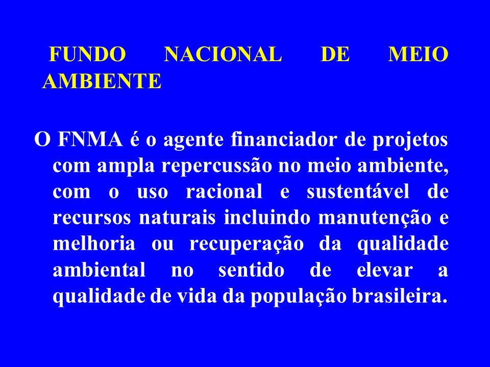 FUNDO NACIONAL DE MEIO AMBIENTE O FNMA é o agente financiador de projetos com ampla repercussão no meio ambiente, com o uso racional e sustentável de