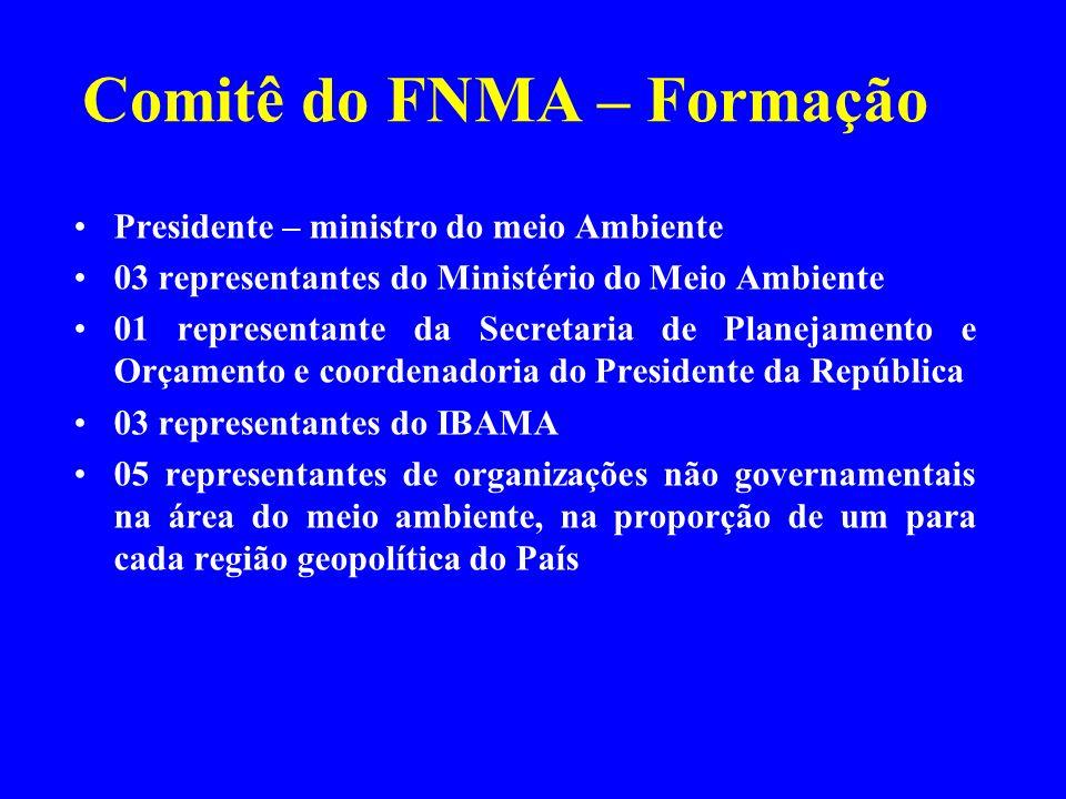 Comitê do FNMA – Formação Presidente – ministro do meio Ambiente 03 representantes do Ministério do Meio Ambiente 01 representante da Secretaria de Pl