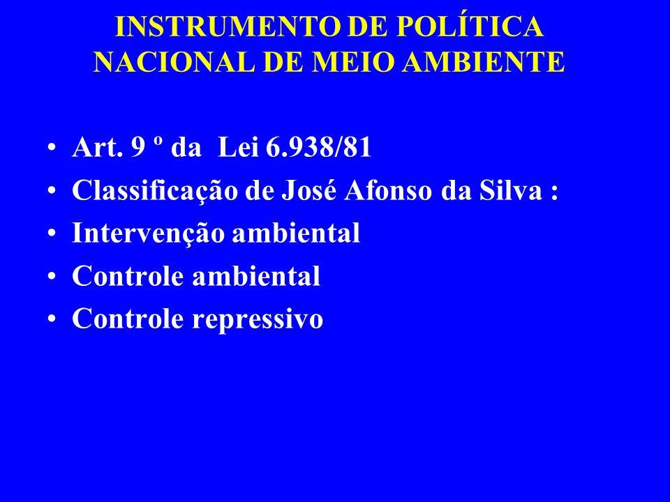 INSTRUMENTO DE POLÍTICA NACIONAL DE MEIO AMBIENTE Art. 9 º da Lei 6.938/81 Classificação de José Afonso da Silva : Intervenção ambiental Controle ambi