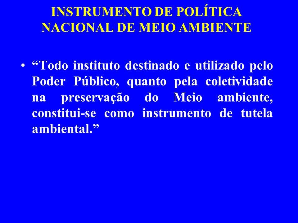 INSTRUMENTO DE POLÍTICA NACIONAL DE MEIO AMBIENTE Todo instituto destinado e utilizado pelo Poder Público, quanto pela coletividade na preservação do