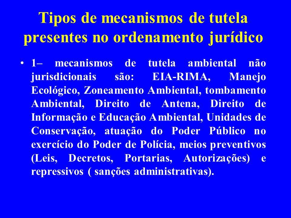 Tipos de mecanismos de tutela presentes no ordenamento jurídico 1– mecanismos de tutela ambiental não jurisdicionais são: EIA-RIMA, Manejo Ecológico,