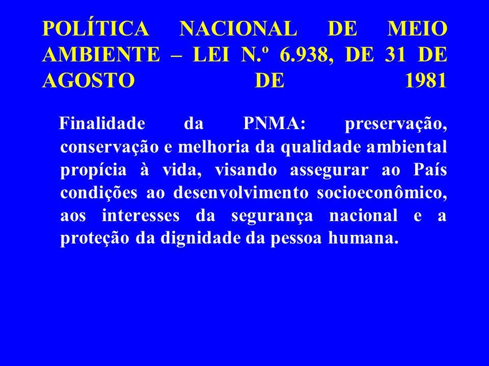 POLÍTICA NACIONAL DE MEIO AMBIENTE – LEI N.º 6.938, DE 31 DE AGOSTO DE 1981 Finalidade da PNMA: preservação, conservação e melhoria da qualidade ambie