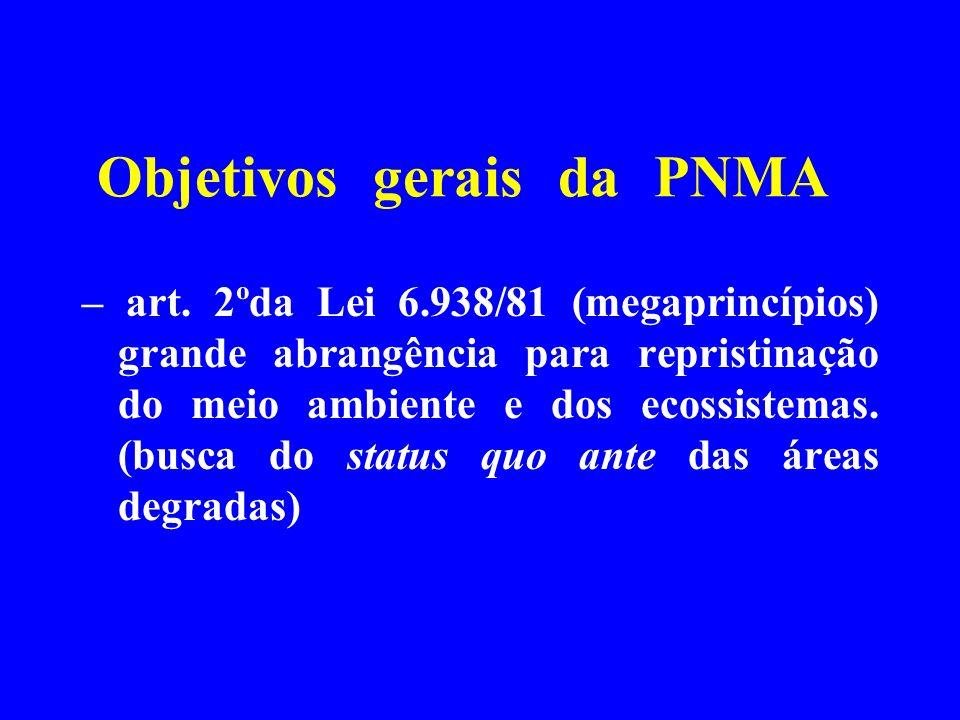 Objetivos gerais da PNMA – art. 2ºda Lei 6.938/81 (megaprincípios) grande abrangência para repristinação do meio ambiente e dos ecossistemas. (busca d