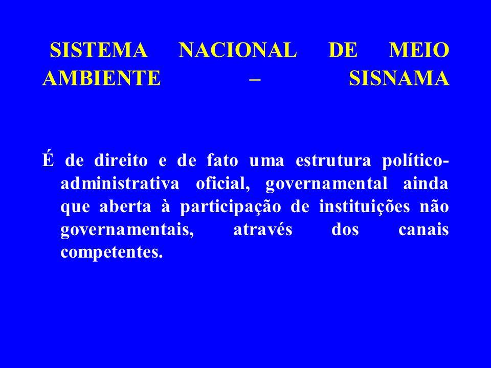 SISTEMA NACIONAL DE MEIO AMBIENTE – SISNAMA É de direito e de fato uma estrutura político- administrativa oficial, governamental ainda que aberta à pa