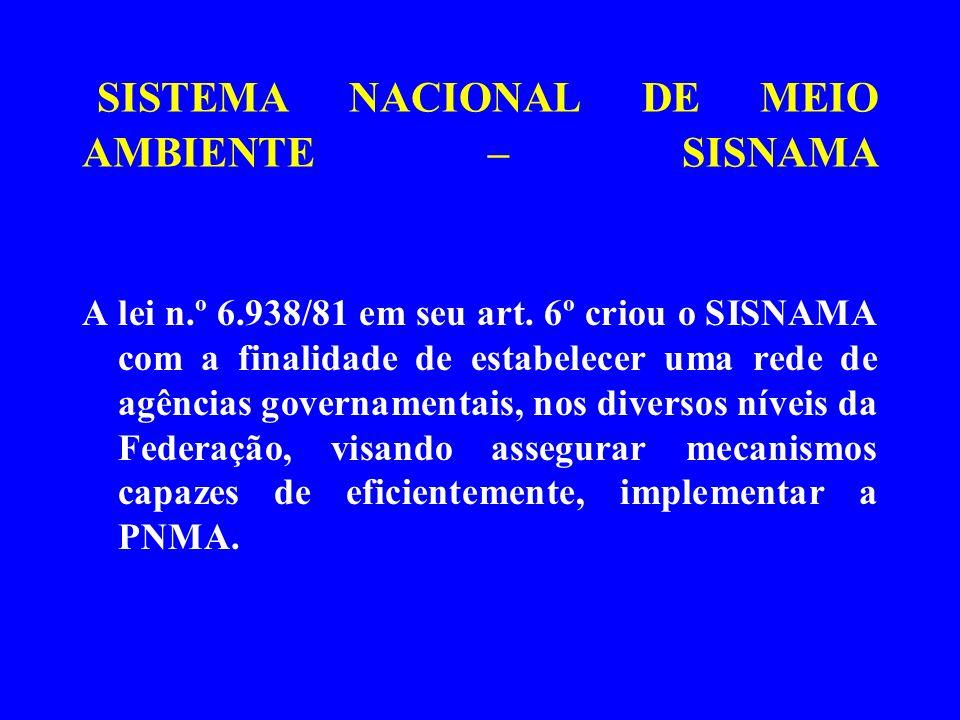 SISTEMA NACIONAL DE MEIO AMBIENTE – SISNAMA A lei n.º 6.938/81 em seu art. 6º criou o SISNAMA com a finalidade de estabelecer uma rede de agências gov