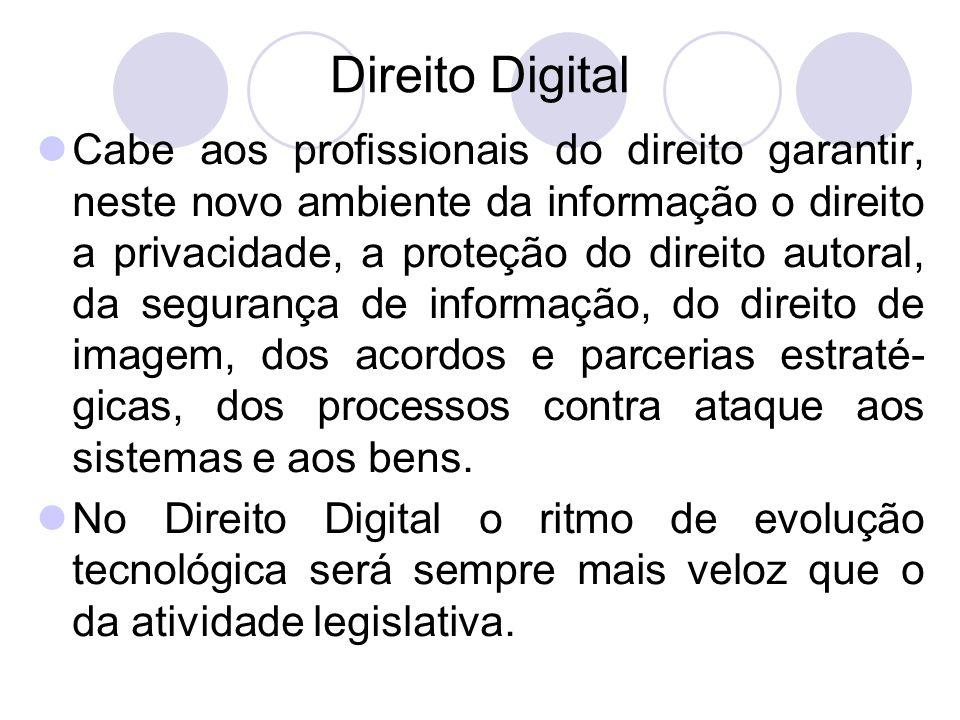 Direito Digital Cabe aos profissionais do direito garantir, neste novo ambiente da informação o direito a privacidade, a proteção do direito autoral,