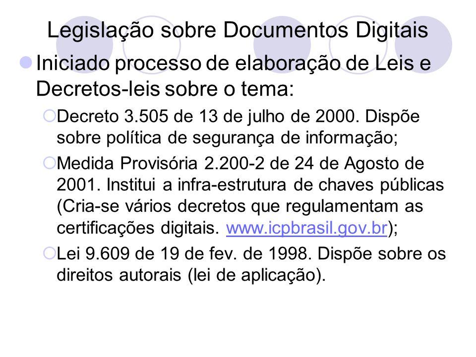 Legislação sobre Documentos Digitais Iniciado processo de elaboração de Leis e Decretos-leis sobre o tema: Decreto 3.505 de 13 de julho de 2000. Dispõ