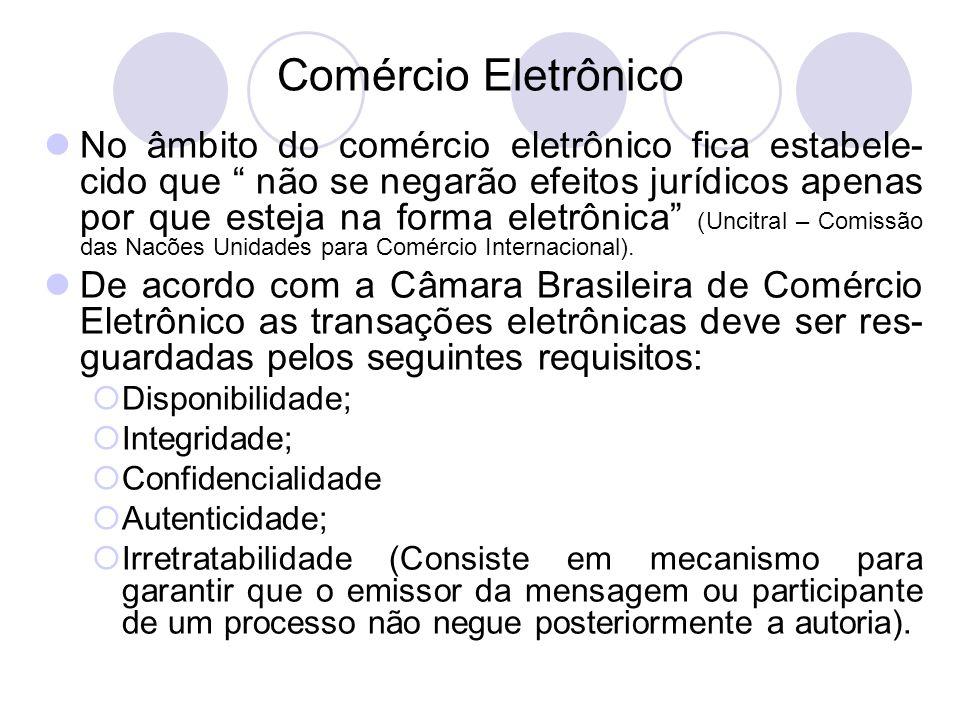 Comércio Eletrônico No âmbito do comércio eletrônico fica estabele- cido que não se negarão efeitos jurídicos apenas por que esteja na forma eletrônic
