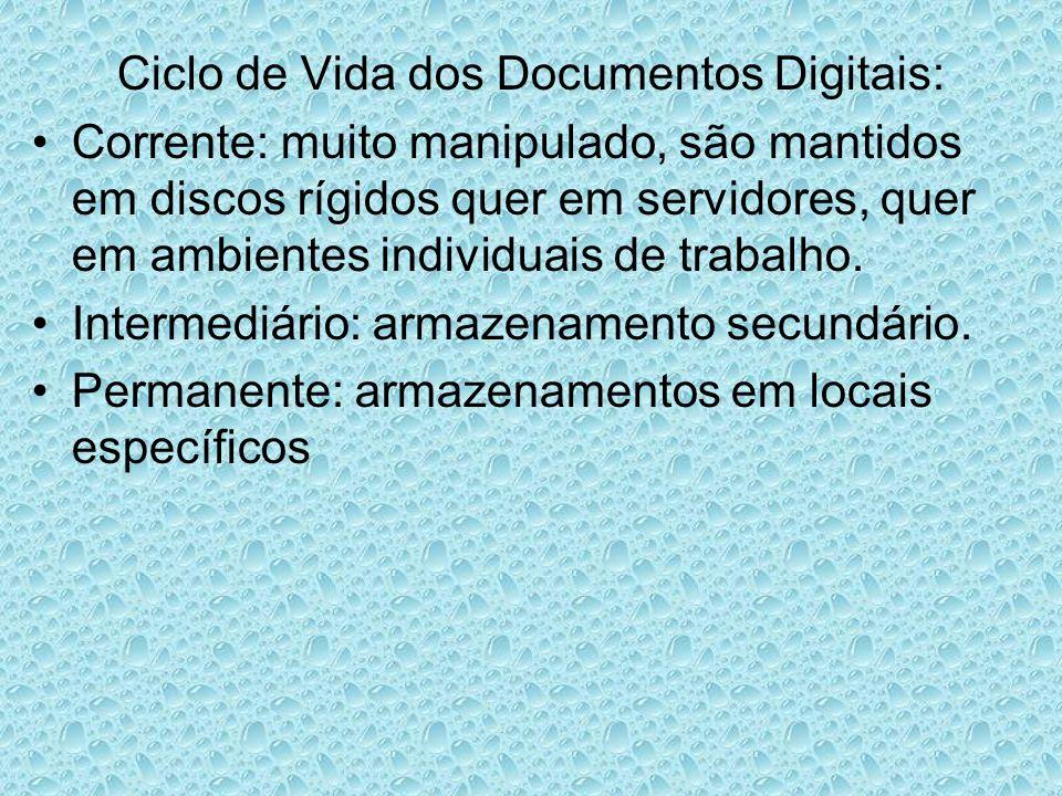 Ciclo de Vida dos Documentos Digitais: Corrente: muito manipulado, são mantidos em discos rígidos quer em servidores, quer em ambientes individuais de