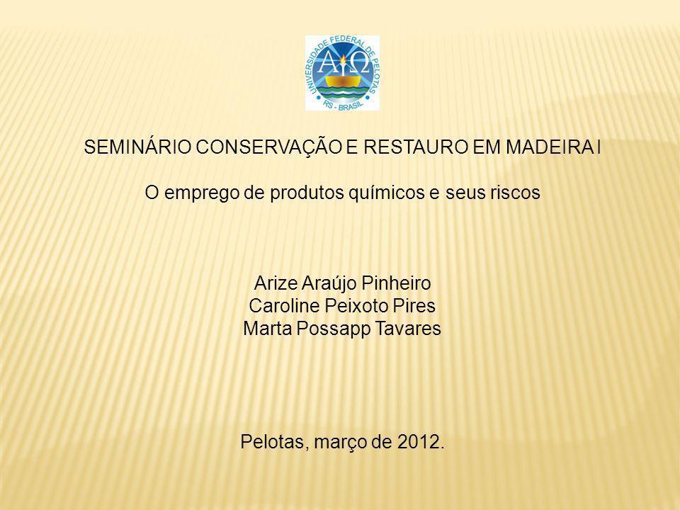 SEMINÁRIO CONSERVAÇÃO E RESTAURO EM MADEIRA I O emprego de produtos químicos e seus riscos Arize Araújo Pinheiro Caroline Peixoto Pires Marta Possapp