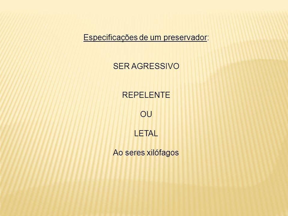 Especificações de um preservador: SER AGRESSIVO REPELENTE OU LETAL Ao seres xilófagos