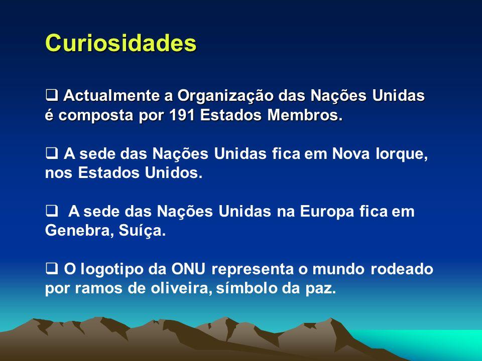 Curiosidades Actualmente a Organização das Nações Unidas é composta por 191 Estados Membros. Actualmente a Organização das Nações Unidas é composta po