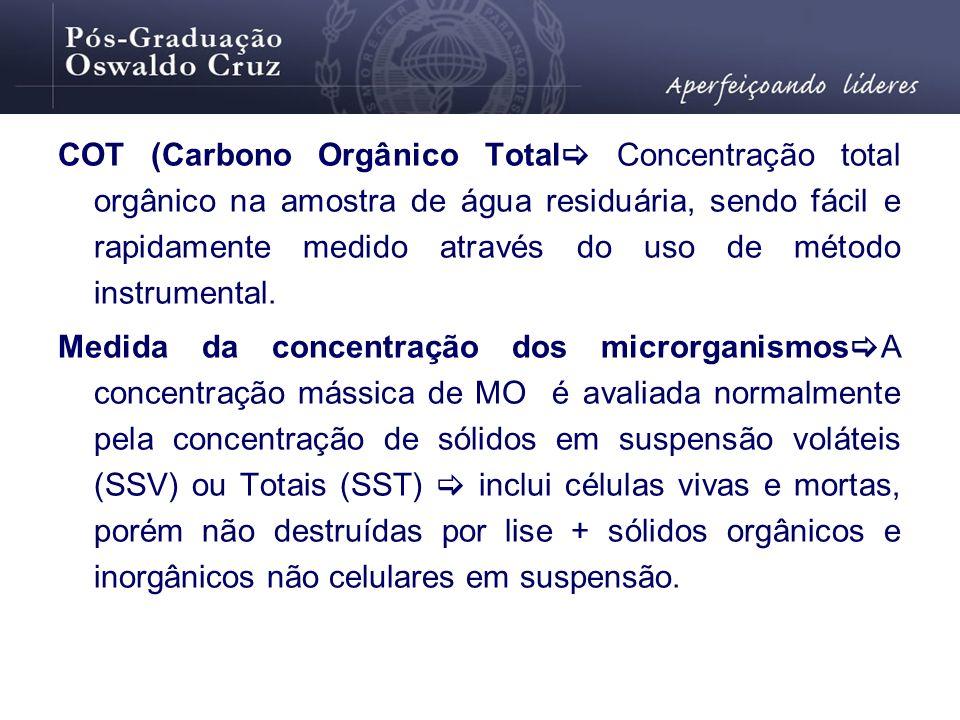 COT (Carbono Orgânico Total Concentração total orgânico na amostra de água residuária, sendo fácil e rapidamente medido através do uso de método instr