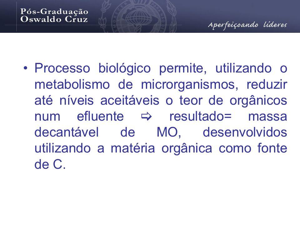 Processo biológico permite, utilizando o metabolismo de microrganismos, reduzir até níveis aceitáveis o teor de orgânicos num efluente resultado= mass